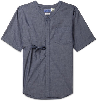 Blue Blue Japan Indigo-Dyed Grandad-Collar Melange Cotton Shirt