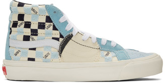 Vans Blue and Off-White Bricolage Sk8-Hi Sneakers
