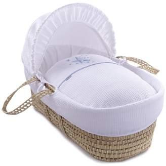 Clair De Lune Stardust Palm Moses Basket inc. Bedding, Mattress & Adjustable Hood