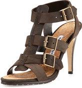 Manolo Blahnik Pidigi Leather Triple-Buckle Sandal, Green