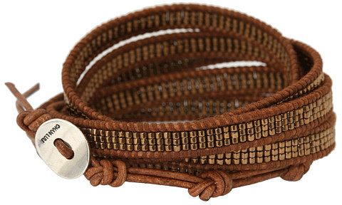 "Chan Luu 32"" Seed Bead Metallic Bronze/Natural Brown Bracelet"
