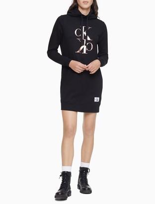 Calvin Klein Mirror Monogram Logo Sweatshirt Dress