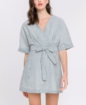ENGLISH FACTORY Striped Dress with Waist Belt