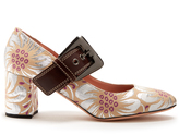 Rochas Mary-Jane floral-brocade pumps