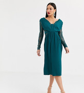 Asos Tall DESIGN Tall lace and pleat long sleeve midi dress