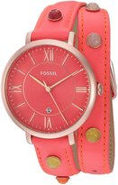 Fossil Women's ES4101 Jacqueline Three-Hand Date Neon Coral Leather Watch