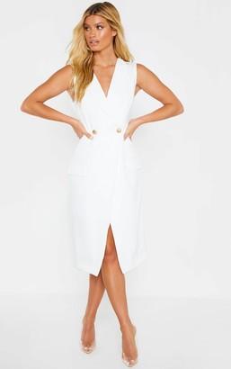 UNIQUE21 White Sleeveless Gold Button Blazer Dress
