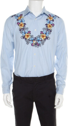 Gucci Blue and White Striped Floral Printed Long Sleeve Skinny Shirt L
