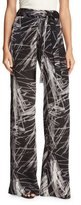 Halston High-Waist Printed Flowy Pants, Black Reflection