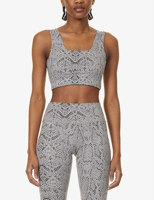 Varley Delta leopard-print stretch-woven sports bra