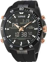 Lorus Lorus Black and Rose Gold Detail Chronograph and Digital Dial Black Silicone Strap Mens Watch