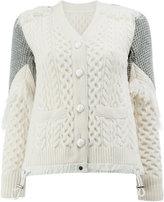 Sacai trellis knit fringed cardigan - women - Polyester/Wool - 1