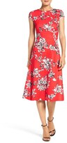 ECI Women's Floral Scuba Fit & Flare Dress