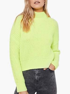 Mint Velvet Neon Funnel Neck Jumper, Green