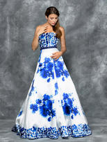 Colors Dress - 1644 Strapless Floral Embellished Ballgown