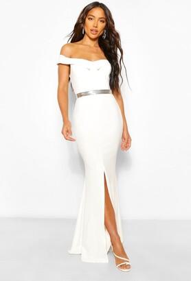 boohoo Off The Shoulder Split Front Maxi Dress
