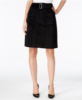 Catherine Malandrino Catherine Vernon Belted Faux-Suede A-Line Skirt