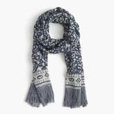 J.Crew Lightweight wool-silk scarf in batik leaf print