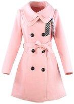 KMFEEL Women Wool Blend Coat Slim Trench Long Jacket with Belt