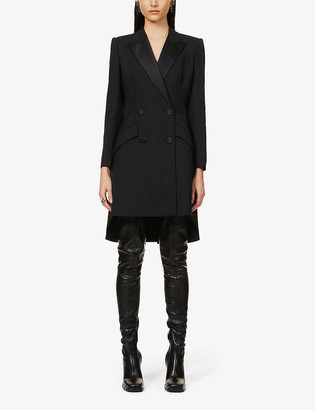 Alexander McQueen Double-breasted wool and silk-blend mini dress