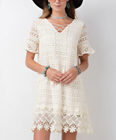 Jane Natural Crochet Lace-Up Bell-Sleeve Dress