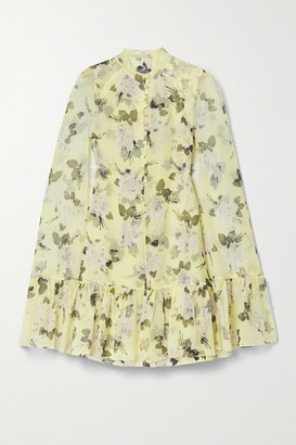 Erdem Constantine Cape-effect Floral-print Silk-voile Mini Dress - Pastel yellow