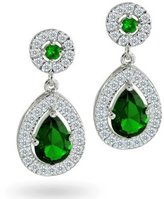 Bling Jewelry CZ Simulated Emerald Bridal Teardrop Earrings Silver Plated