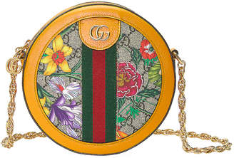 Gucci Ophidia Supreme GG Flora Round Shoulder Bag in Beige Ebony & Yellow | FWRD