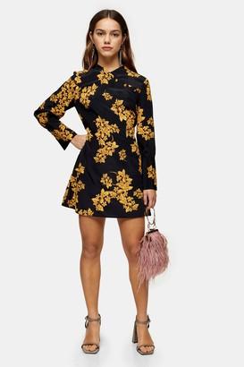 Topshop Womens Petite Black Floral Printed Mini Dress - Black