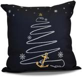 16 in. Holiday Anchor Holiday Pillow in Navy Blue