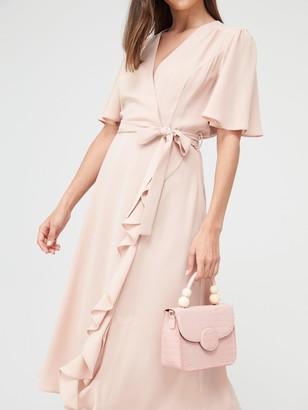 Very Vienna Wrap Frill Midi Dress - Blush