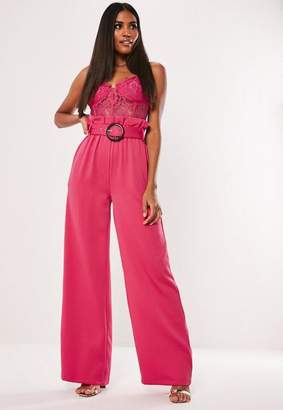 Missguided Hot Pink Co Ord Wide Leg Belted Pants
