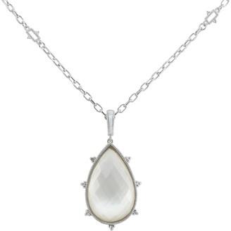 Judith Ripka Sterling Silver Amalfi Large Pear Stone Pendant Necklace