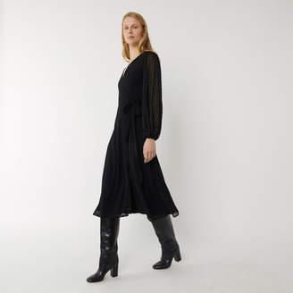 Warehouse Flocked Spot Wrap Midi Dress