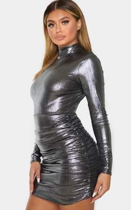 PrettyLittleThing Silver Metallic Plisse High Neck Ruched Skirt Bodycon Dress
