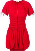 Fendi Smocked Short Sleeve Dress