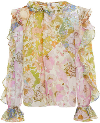Zimmermann Super Eight Ruffled Floral-print Cotton And Silk-blend Voile Blouse