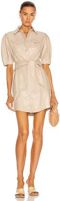 Jonathan Simkhai Vegan Leather Novah Mini Shirt Dress in Egret | FWRD