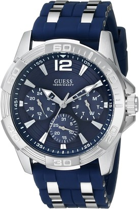 GUESS Iconic Blue Stainless Steel Stain Resistant Silicone Watch with Day Date + 24 Hour Military/Int'l Time. Color: Blue (Model: U0366G2)