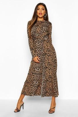 boohoo Leopard Knot Front Culotte Jumpsuit