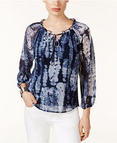 INC International Concepts Tie-Dyed Peasant Top, Only at Macy's