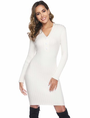 Abollria Women Long Sleeve V Neck Chunky Cable Knitted Bodycon Jumper Knitwear Sweater Dress White