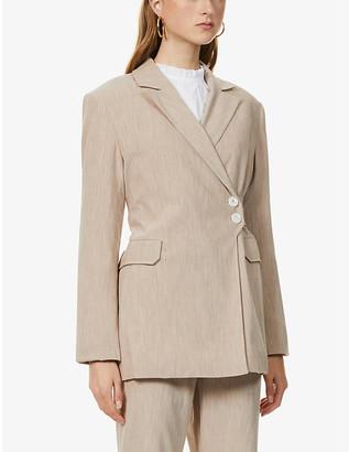 Ganni Melange belted woven jacket