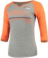 Outerstuff Women's Juniors Von Miller Heathered Gray/Orange Denver Broncos Over the Line Player Name & Number Tri-Blend 3/4-Sleeve V-Notch T-Shirt