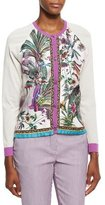 Etro Printed Silk-Front Cardigan, Ivory/Lilac