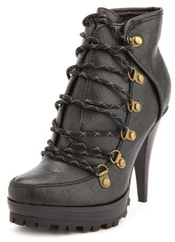 Charlotte Russe Rugged Lace-Up Heel Bootie
