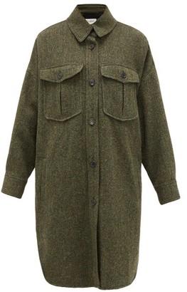Etoile Isabel Marant Obira Herringbone Virgin-wool Coat - Womens - Green