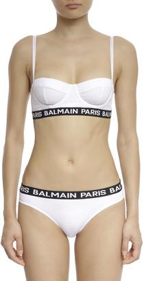 Balmain Jersey Balconette Underwire Bra w/ Logo Elastic Band