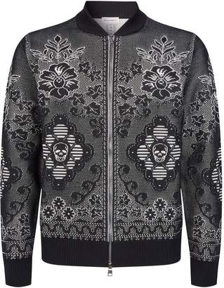 Alexander McQueen Floral-Embroidered Bomber Jacket
