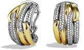 David Yurman Labyrinth Double-Loop Earrings with Diamonds & Gold